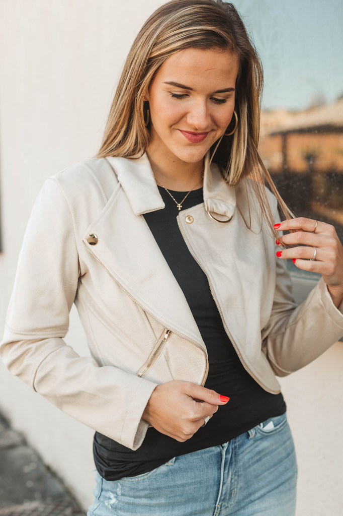 Blu Pepper Notch Collar Cropped Moto Jacket