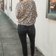 Karlie Leopard V-Neck Knit Top