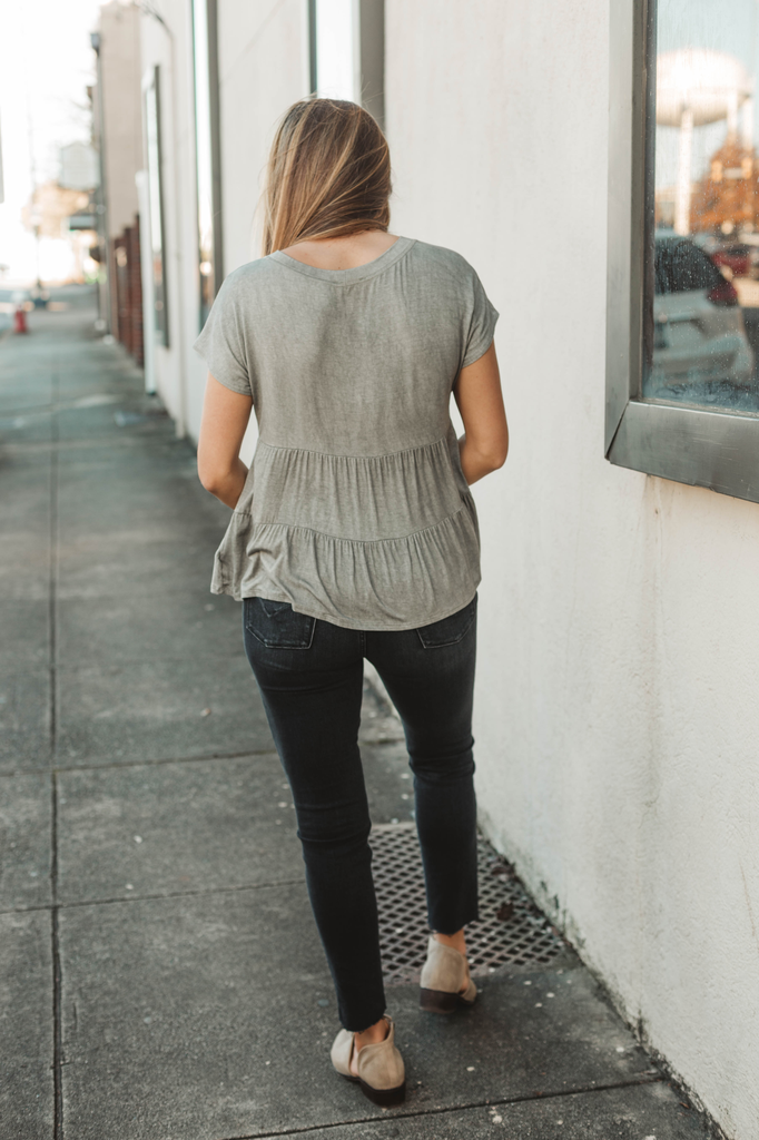 Blu Pepper Kimono Short Sleeve Tiered Top
