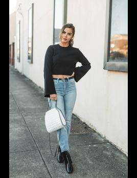 She & Sky Bell Sleeve Crop Sweater