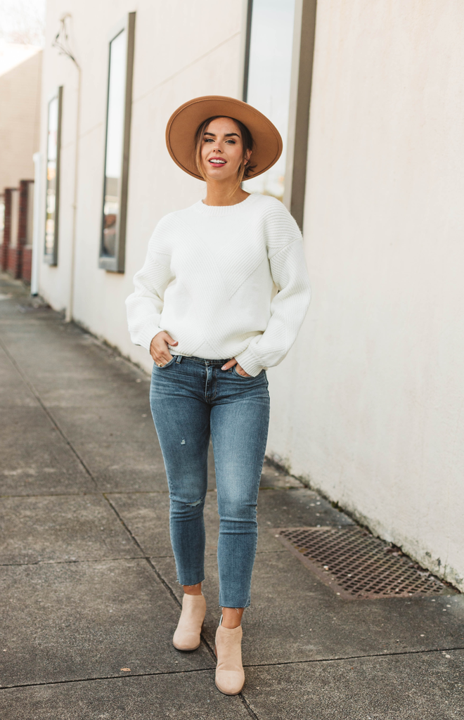 Ribbed Detail Knit Sweater