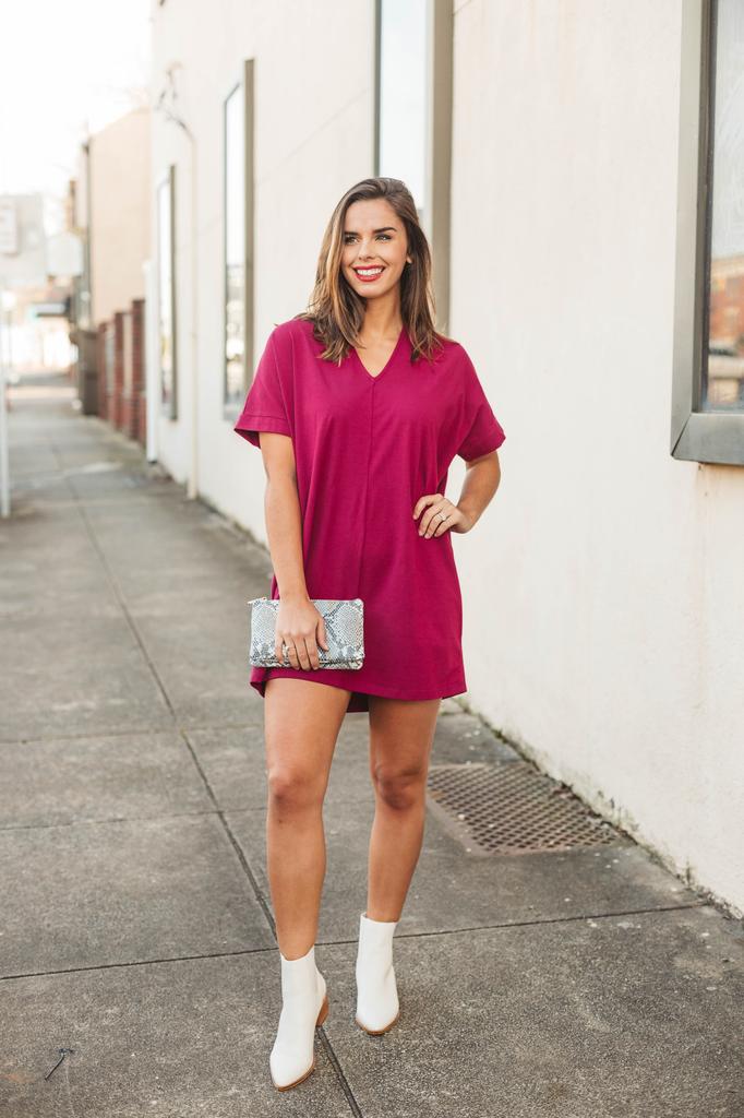 Karlie Solid Knit V-Neck Signature Dress