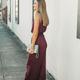 She & Sky Satin Jumpsuit with Smocked Neck and Waistband
