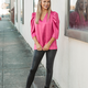 Karlie Solid V-Neck Puff Sleeve Signature Top
