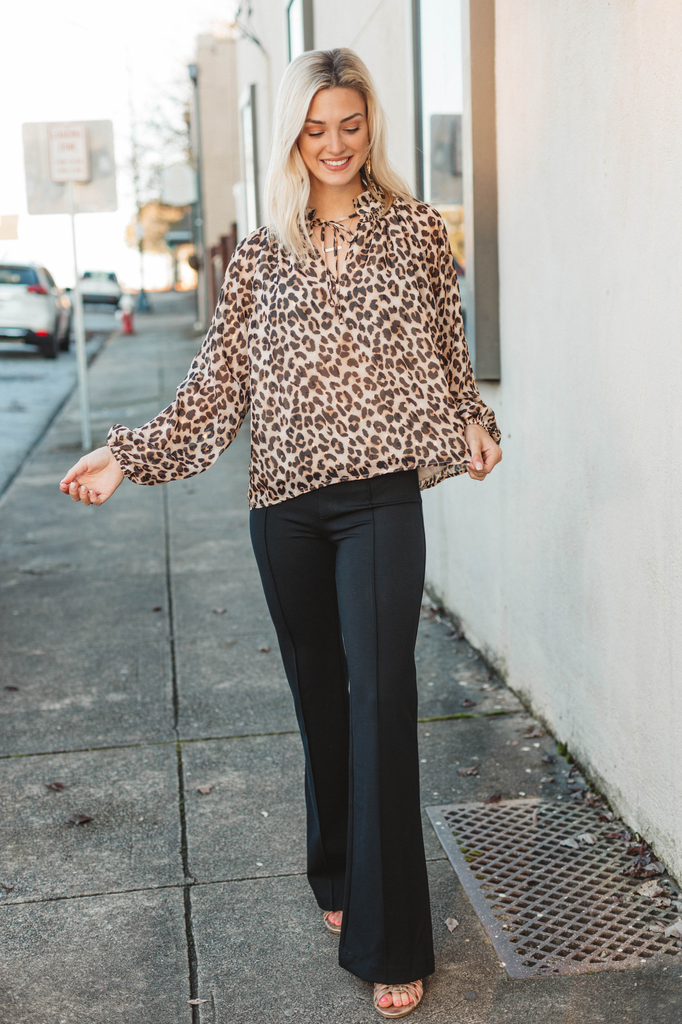 Karlie Leopard Lurex Chiffon Long Sleeve Top