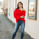 One Shoulder Bell Sleeve Ribbed Sweater