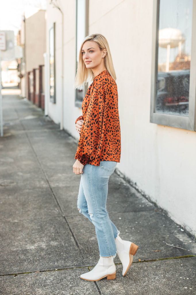 Karlie Leopard Dot Satin Button Up Top