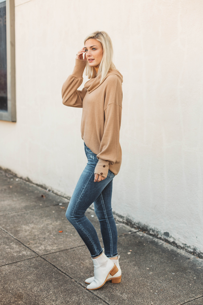 Soft Brushed Rib Cowl Neck Pullover Sweater