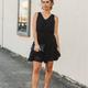 She & Sky Woven Dress with Tassel Waist Tie Detail