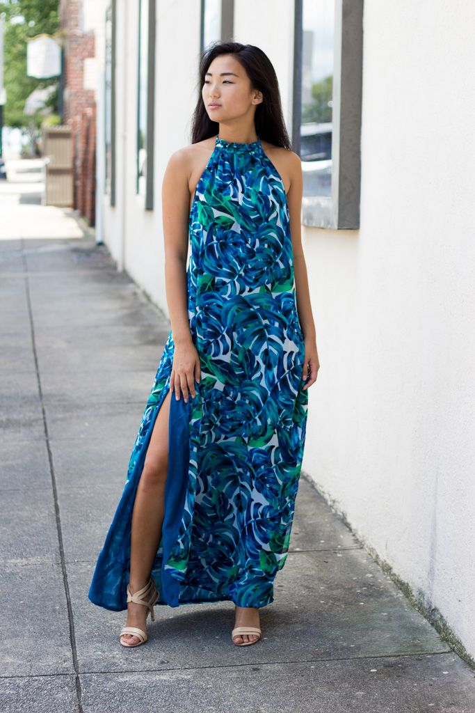 Karlie Tropical Chiffon Leaf Halter Maxi Dress