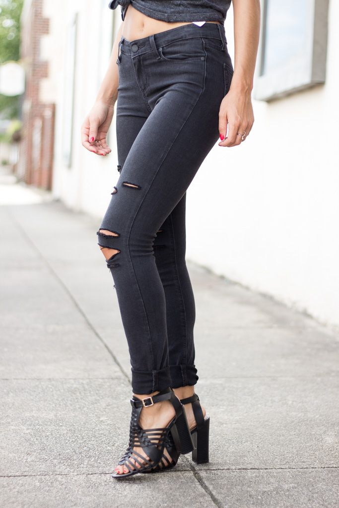 Paige Verdugo Ultra Skinny in Black Fog Destructed