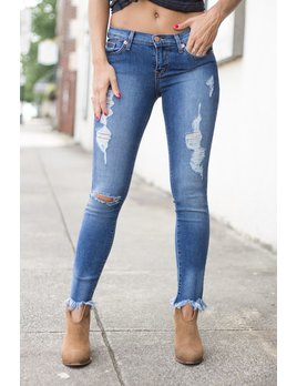 Karlie Frayed Bottom Distressed Cropped Denim