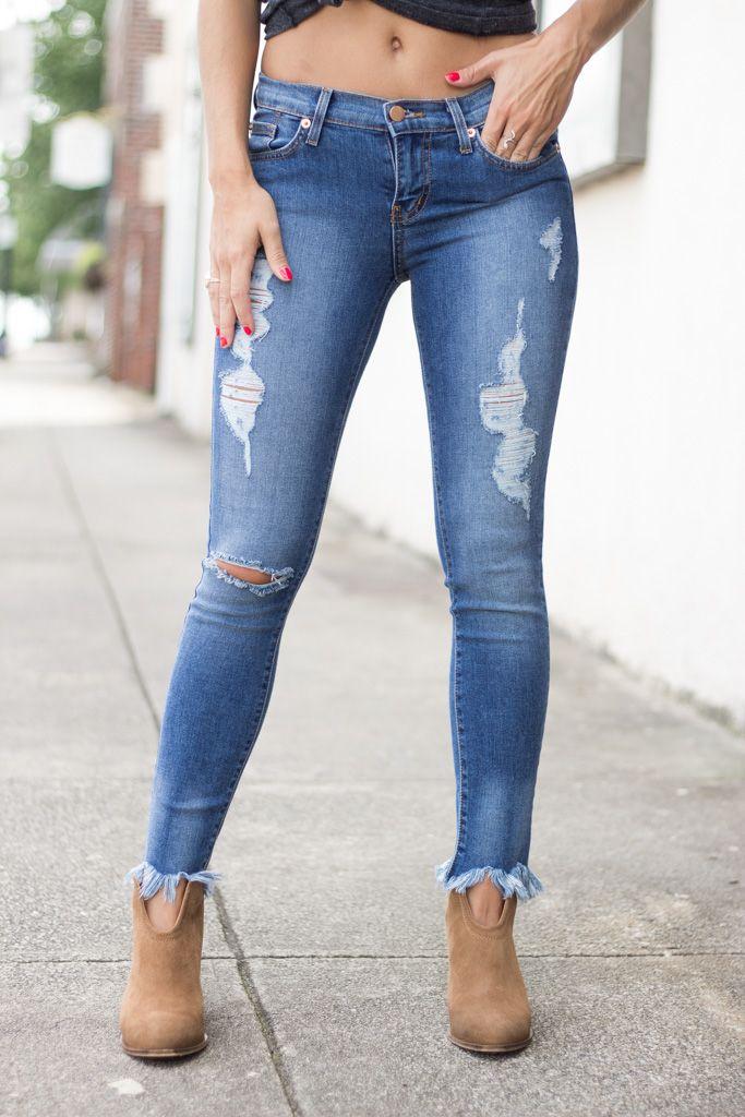 Karlie Karlie Frayed Bottom Distressed Cropped Denim