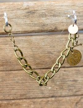 World Links 1 Coin Bracelet in Antique Gold