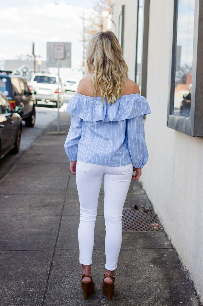 Karlie Stripe Washed Ruffle One Shoulder Top