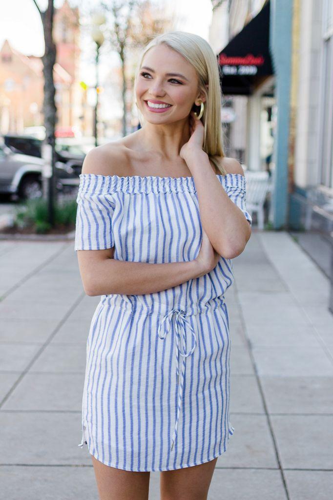 Karlie Stripe Off Shoulder Tie Dress