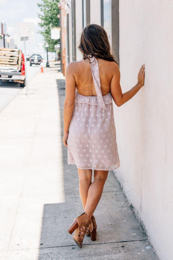 She & Sky Polka Dot Textured Halter Dress