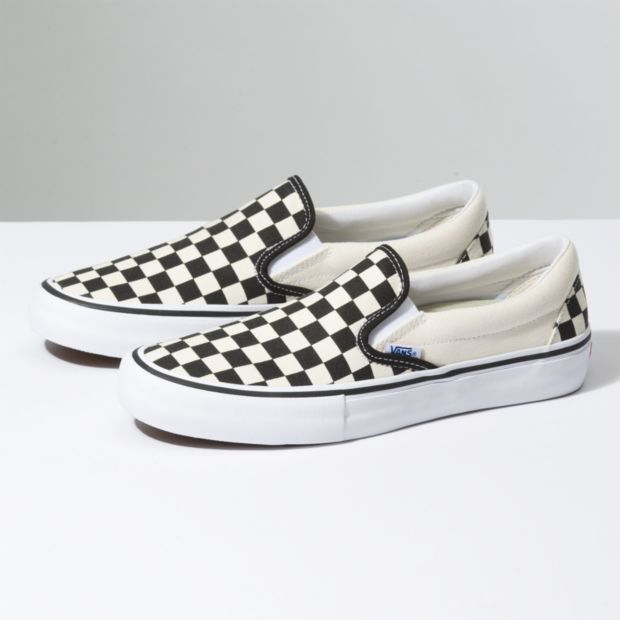 388008d8f9 Vans Slip-On Pro Black White Checkerboard Shoes - Gordy s Bicycles