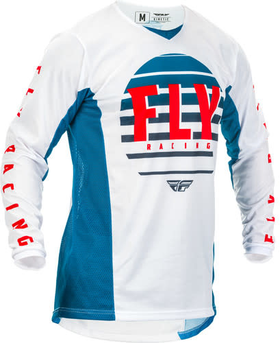 Fly Racing 2020 Fly Racing Kinetic K220 Adult Blue/White/Red Jersey