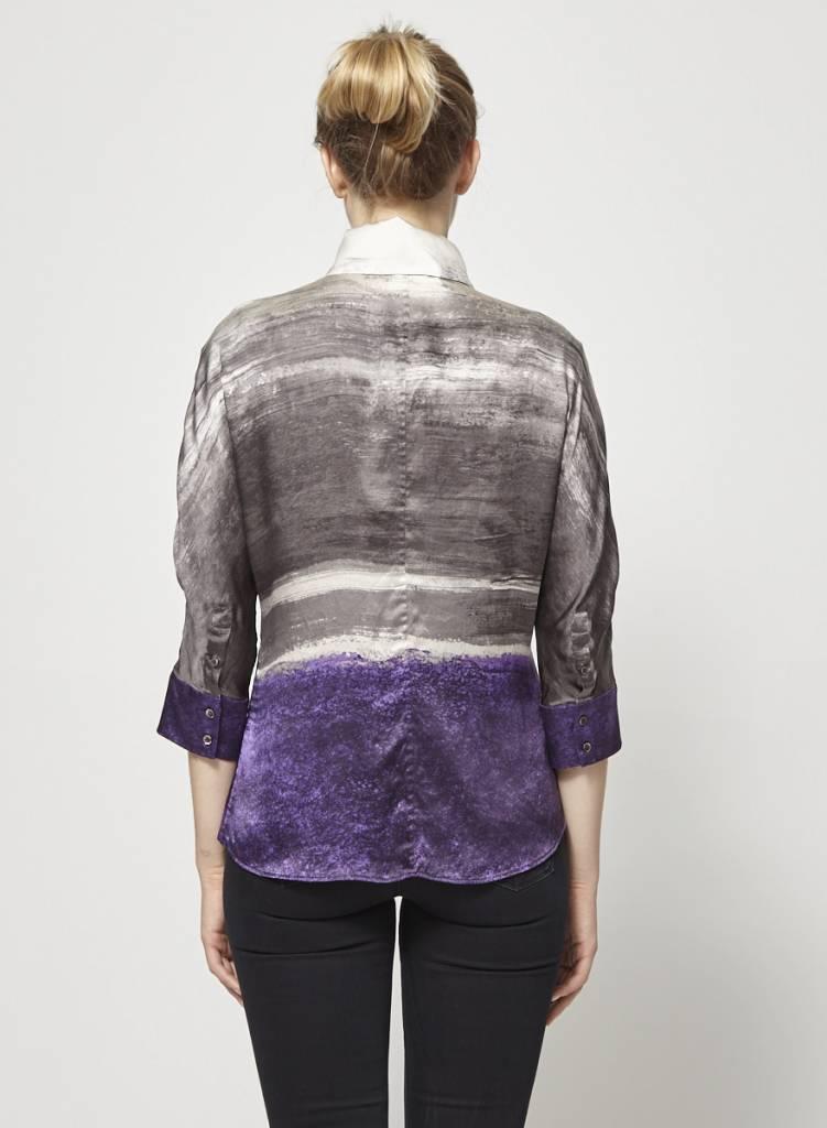 BOSS Hugo Boss Chemise gris, violet, crème