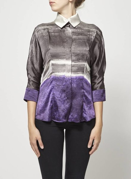 BOSS Hugo Boss GRAY PURPLE AND OFF-WHITE BLOUSE