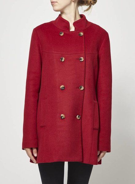 Atelier B SALE - RED WOOL COAT WITH SMALL CAPE