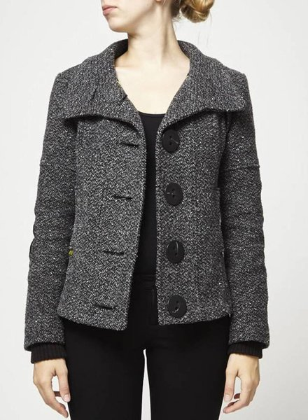 Soia & Kyo SOLDE - MANTEAU COURT EN TWEED GRIS
