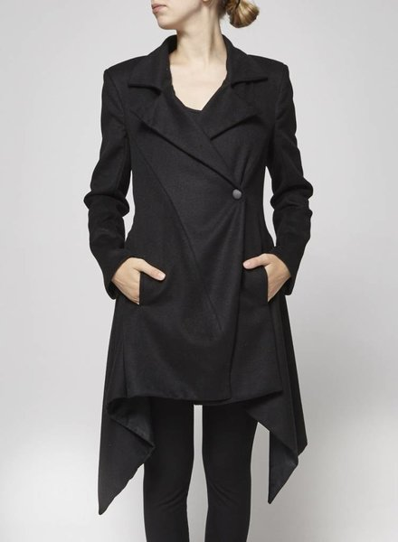 Elisa C-Rossow SALE - BLACK WOOLEN AND CASHMERE COAT