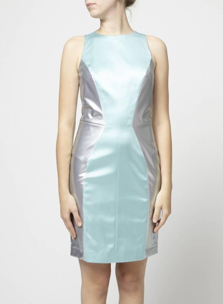 Hugo Boss Solde - Robe turquoise et gris métallique