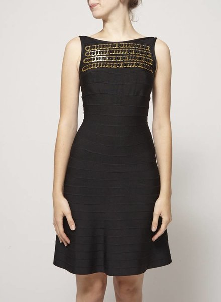 Hervé Léger BLACK DRESS WITH GOLD DETAILS