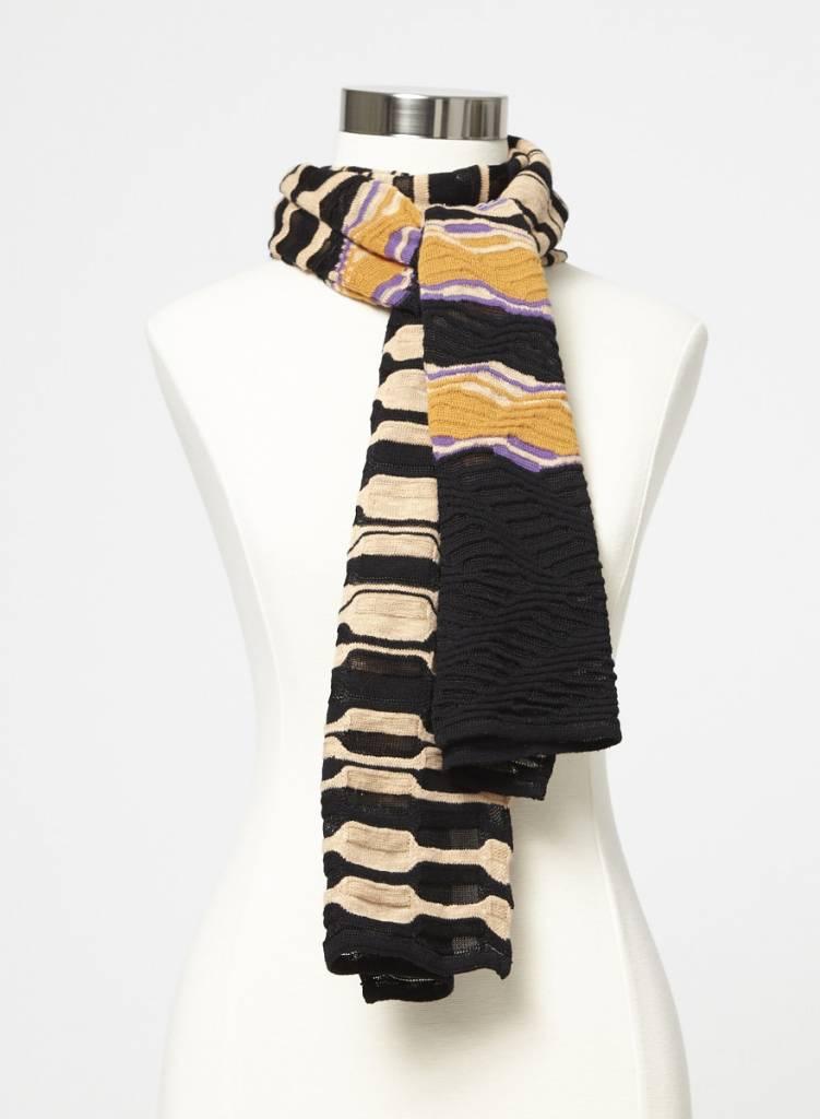 Écharpe en tricot texturé pêche, noir, violet et orange - Deuxième ... 951fdd5d2e5