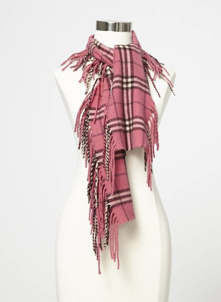 Burberry FOULARD ROSE EN CACHEMIRE À CARREAUX