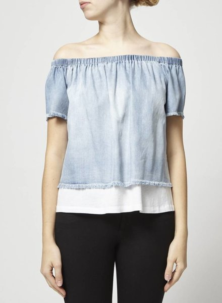 Generation Love CHAMBRAY OFF THE SHOULDER TOP