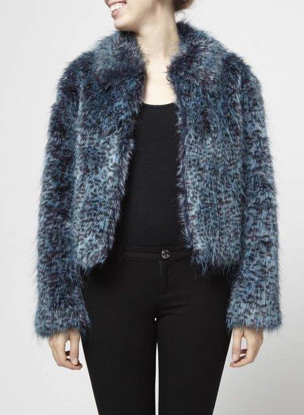 Blanc Noir SALE - FAUX FUR BLUE LEOPARD COAT