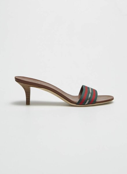 Gucci ON SALE - GREEN AND RED STRIPED LEATHER SANDALS