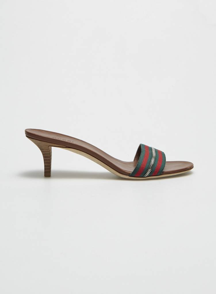 55d7d9a23 GREEN AND RED STRIPED LEATHER SANDALS - GUCCI - DEUXIEME EDITION