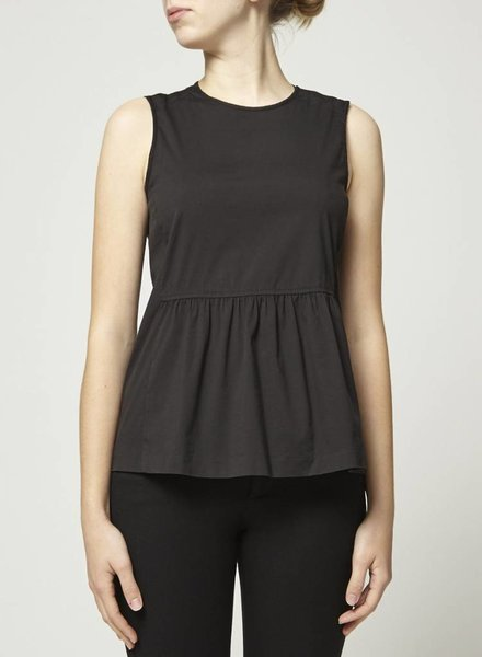 Theory SALE - SLEEVELESS PLEATED BLACK TOP