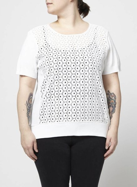 Anne Fontaine PULL BLANC BRODERIES PERFORATIONS