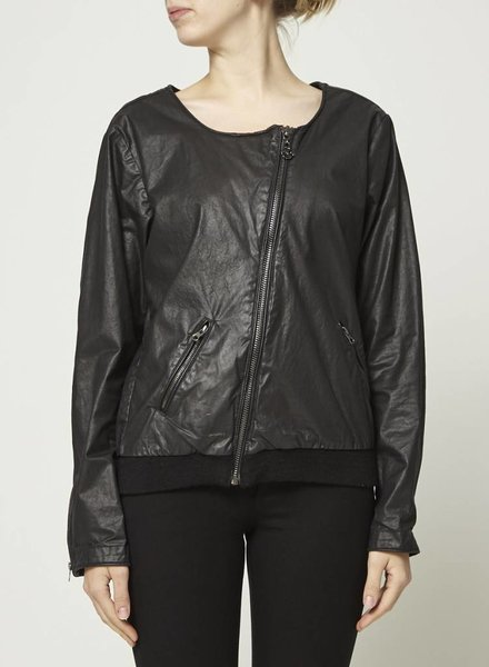 Maison Scotch WAXED BLACK COAT