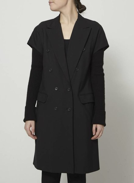 Elizabeth & James SALE - LONG BLACK COAT WITH WOOLEN SLEEVES