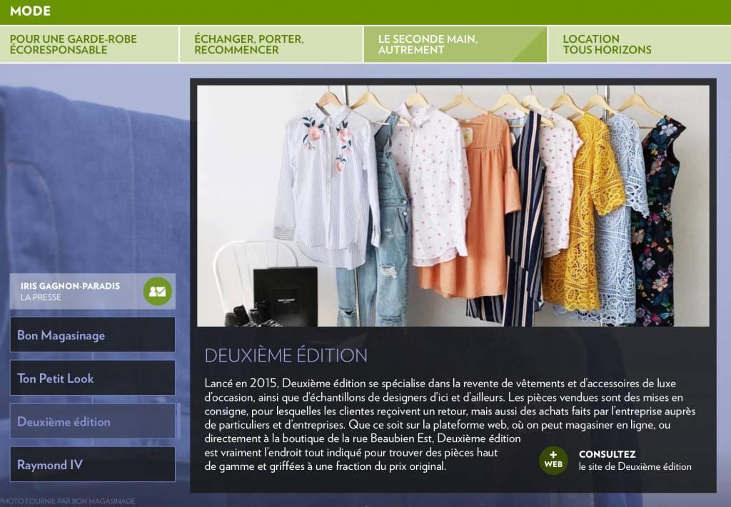 Vu dans La Presse+: le seconde main de luxe, un choix écoresponsable