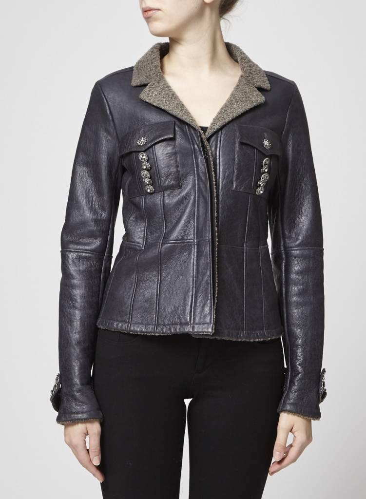 Chanel Manteau noir en cuir et laine d'agneau à boutons bijoux