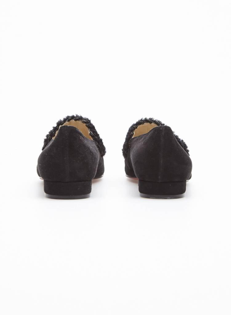 Christian Louboutin Solde - Flâneurs noirs en suède et détail en laine