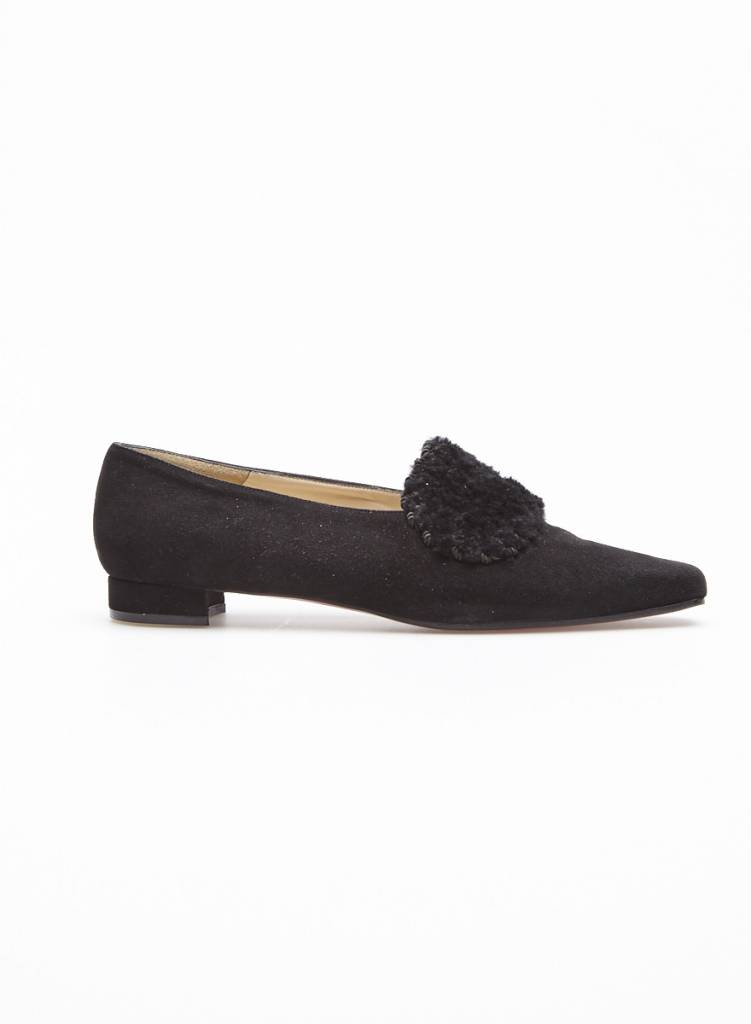 Christian Louboutin Sale - Black suede loafer with wool