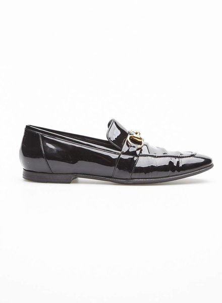 Gucci BLACK PATENT LEATHER JORDAAN LOAFERS