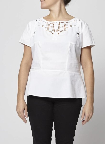BOSS Hugo Boss ON SALE - WHITE BLOUSE WITH EMBROIDERY COLLAR