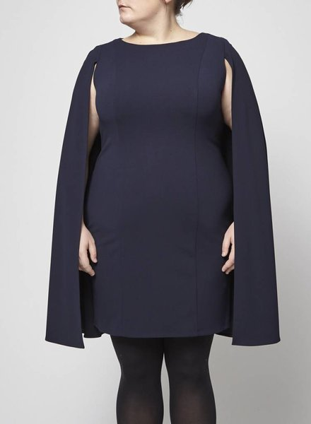 Adrianna Papell LONG DARK BLUE DRESS WITH CAPE