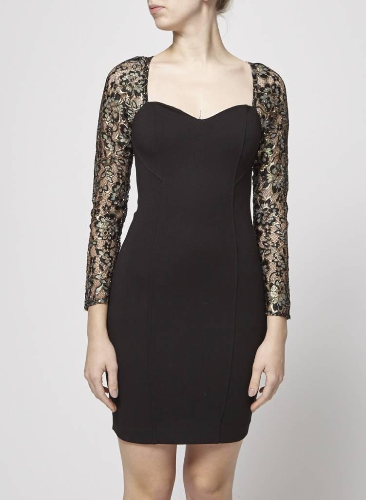 Heartloom Robe noire à manches dorées - Neuve