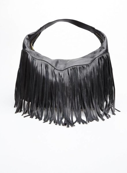 Christopher Kon SALE - BLACK LEATHER HANDBAG WITH FRINGES