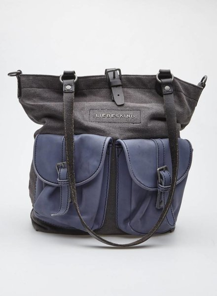 Liebeskind CHARCOAL FABRIC AND BLUE LEATHER BAG